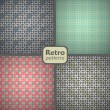 A set of 4 seamless retro patterns. Vector backgrounds. — Stock Vector