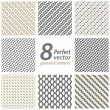 Collection of 8 seamless geometric patterns. — Vector de stock #18425639