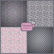 A set of 4 perfect seamless pink and grey retro patterns. Vector — Vector de stock