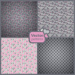 A set of 4 perfect seamless pink and grey retro patterns. Vector — Stok Vektör