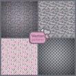 sada 4 dokonalé bezešvé růžové a šedé retro vzory. vektor — Stock vektor