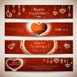 Set of banners for Valentine — Stock Vector