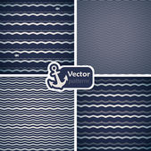 Set of 4 seamless patterns with waves. — Stock Vector