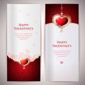 Colección de tarjetas de regalo y las invitaciones con corazones. vector fondo. — Vector de stock