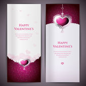 Greeting cards with hearts and copy space. Vector illustration — Stock Vector