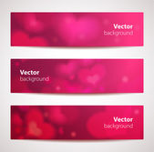 Set of stylish vector headers or banners with hearts. — Stock Vector