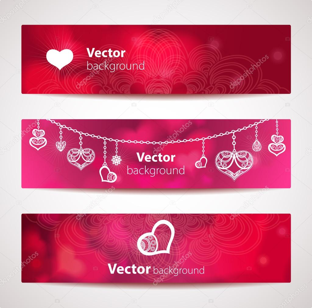 Set of stylish vector headers or banners with hearts. — Stock Vector #19019855