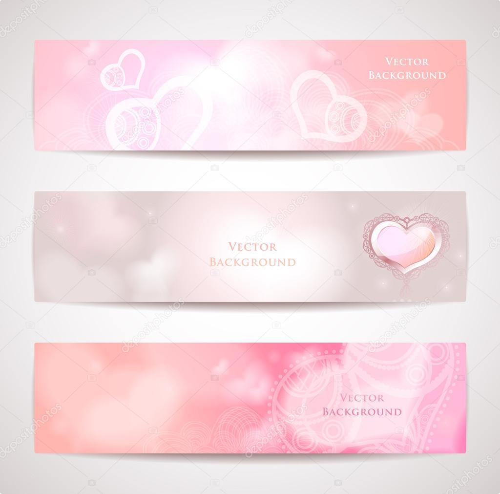 Tender vector headers or banners with hearts. — Imagens vectoriais em stock #19019865