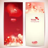 Conjunto de 2 vectores elegantes cartões com corações. — Vetor de Stock