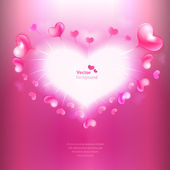 Vector background with heart shaped frame and glossy hearts. — Vecteur