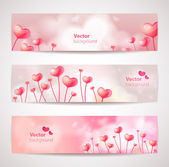Set of cute vector banners with hearts. — Stock Vector
