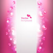 Vector fondo con corazones brillantes y copia espacio. — Vector de stock