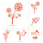 Vector flowers made from hearts. — Stock Vector