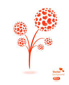 Vector flower made from hearts. — Stock Vector