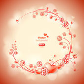 Abstract vector round frame with hearts and floral ornaments. — Stock Vector
