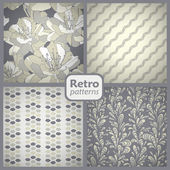 Retro set of 4 seamless vector patterns. — Stock Vector