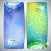 Vector set of banners with glossy vortex and sparkles. — Stockvector