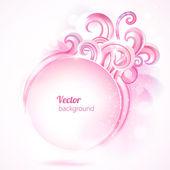 Resumen marco redondo con remolinos de color rosa. Vector fondo. — Vector de stock