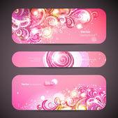 Vektorové sada 3 bannery s dekorativní víry. — Stock vektor