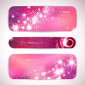 Vector set of 3 banners with glittering and sparkling stars. — Stock Vector