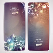 Set of abstract glamour vector banners with swirls. — Stock Vector