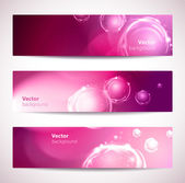 Set of pink abstract vector banners with bubbles. — Stockvector