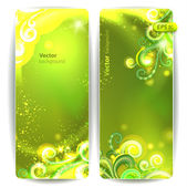 Vector set of green banners with decorative elements. — Stock Vector