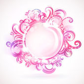 Pink round frame with design elements. — Stock Vector