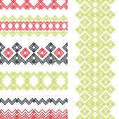 Set of seamless ethnic borders. Vector ornaments. — Stock Vector