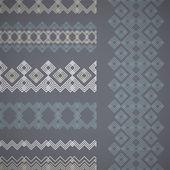 Set of seamless borders. Vector ethnic ornaments. — Stock Vector