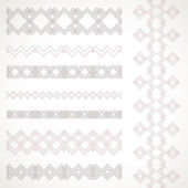 Set of tender seamless pattern and borders. Vector ethnic orname — Stock Vector
