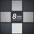 Collection of 8 seamless geometric patterns. Vector set. — Stock Vector #28630305