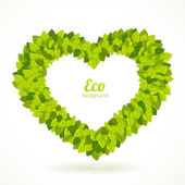Heart shaped frame with green leaves. Vector illustration. — Stock Vector