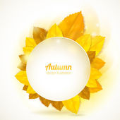 Vector natural background. Round frame with autumn leaves. — Stock Vector