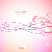 Abstract pink background with waves and swirls. — Stock Vector