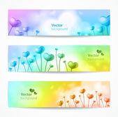 Cute vector banners with hearts. — Stock Vector