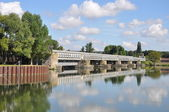 Foot-Bridge on the SEINE ; POSES (EURE) FRANCE — Stock Photo