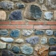 Rough stone wall with brick decoration — Stock Photo #14211423