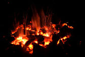 Glowing hot charcoal fire — Stock Photo