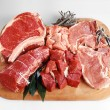 Tray of assorted red meat — Stock Photo