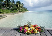 Exotic fruit overlooking a tropical beach — Stock Photo