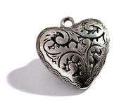 Ornate silver heart shaped locket — Stock Photo