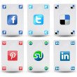 Stock Photo: Cards with social network symbols