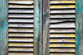Old grunge wooden window shutters — Stock Photo