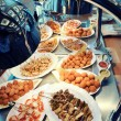 Warm buffet with an assortment of dishes — Stock Photo