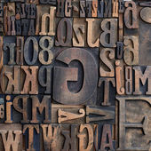 Wooden printers typeface letters — Stock Photo