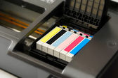 Ink cartridges in a printer — Stock Photo