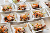 Individual seafood starters — Stock Photo