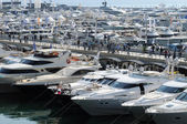 Luxury motorboats at a motor show — Stock Photo