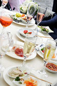 People at a dinner party - view of the table — Stock Photo